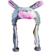 Soft Faux Fur Plush Stuffed Cute Rabbit Animal Costume Cap with Toy Hood for Boys and Girls (Gray Free Size)