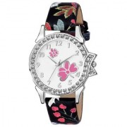Lava Creation Stylish white Pink Rose Design With Round Dial Girls Wrist Watch For Women(315-black strap red strap pink)