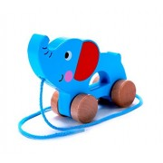 Cubbie Lee Toy Company Adorable Elephant Wooden Push & Pull Along Toy for Baby & Toddler - Rolls Easy, Sturdy String Attached to Animal | Classic Developmental Toy for 1 & 2 Year Old Boys & Girls