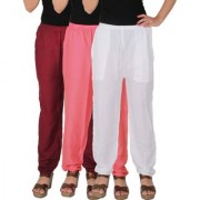 Culture the Dignity Women's Rayon Solid Casual Pants Office Trousers With Side Pockets Combo of 3 - Maroon - Baby Pink - White - C_RPT_MP2W - Pack of 3 - Free Size