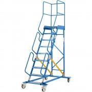 EUROKRAFT Mobile Podestleiter PREMIUM Alu-Stufeneinlagen 9 Stufen