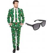 Kerst print heren kostuum / pak - maat 56 (XXXL) met gratis zonnebril