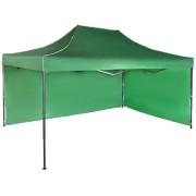 Gyorsan összecsukható sátor 3x4,5 m – acél, Zöld, 2 oldalfal