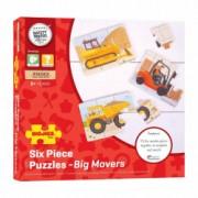 Set 3 puzzle din lemn - Vehicule pentru constructii - BigJigs