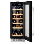Racitor de vinuri incorporabil Electrolux ERW0673AOA, 56 litri, 18 sticle, Rafturi lemn, Control electronic, Clasa A, H 82 cm, l 29,4 cm, Culoare neagra (sticla)