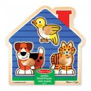 Melissa & Doug Fa készségfejlesztő játék, Puzzle fogantyúval, kis kedvencek