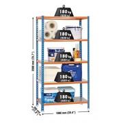 Simonrack Simonclick Plus 5/300 Metal Naranja, Azul, Plata Estanterías para el hogar (5 estanterías, Metal, Metal, Naranja, Azul, Plata, 180 kg, 9 min)