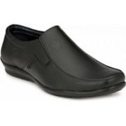 BIG JUNIOR Black Leather Look Office Formal Shoes Slip On For Men(Black)
