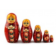Matryoshka Matrioska Babuska Russian Nesting Wooden Doll Red Sundress Matryoshika Babushka 5 Pcs Stacking Hand Painting Beautiful Nested Matriosjka Matrioska Matreshka Matrjoska Matroeska