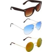 Abner Wayfarer, Aviator, Round Sunglasses(Brown, Blue, Multicolor)