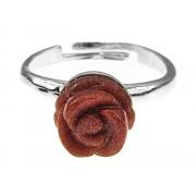 Inel argint reglabil cu trandafir Piatra Soarelui maro