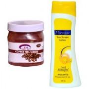 Florozone Sun Screen Lotion With SPF 25 Pink Root Coffee Gel Scrub 500ml
