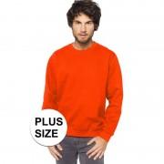 Gildan Plus size oranje heren truien/sweaters met ronde hals