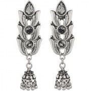 Antique Jhumki Silver Plated Leaf Design Jhumka Earrings Collage Wear Party Wear Light Weight 5.5 CM Long Good Finishing
