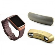 Zemini DZ09 Smart Watch and Gibox G6 Bluetooth Speaker for SONY xperia tipo (DZ09 Smart Watch With 4G Sim Card Memory Card| Gibox G6 Bluetooth Speaker)