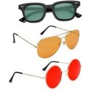 Elligator Aviator, Wayfarer, Round Sunglasses(Green, Orange, Red)