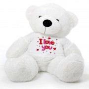 White 5 feet Big Teddy Bear wearing a I Love You T-shirt