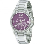 howdy Crystal Studded Analog Purple Dial Stainless Steel Chain Watch- for - Women's Girl's ss340