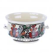 Bol cu manere ceramica traditionala colorata Corund 15 cm