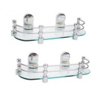 Intenzo Multi-Purpose Glass Wall Shelf with Heavy Wall Brackets - (12x5 inches)-Pack of 2