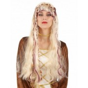 Peruca loira medieval para mulher