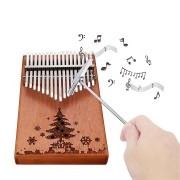 17 Keys Wood Kalimba Peachwood Thumb Piano Finger Percussion Tuning Hammer with Christmas Tree Logo