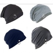 fashionable Men Beanie Baggy Slouchy cap hat with Ring /fall Hat (pack of 3)