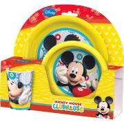 Disney set da tavola piatto piano + piatto fondo + bicchiere mickey mouse