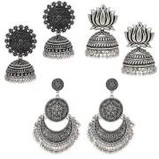 Om Jewells Fashion Jewellery Combo of 3 SilverOxidise Designer Jhumka/Jhumkis Earrings CO1000164