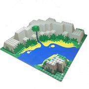 Lego Parts: Islanders - Baseplate, Raised 32 x 32 Canyon with Blue and Yellow Stream Pattern