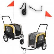 [pro.tec]® Multifuncional remolque de bicicleta para perros - cargador para perros y trotador hasta 25 kg - Gris/Amarillo/Negro - 107 x 56 x 97 cm