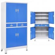 vidaXL Офис шкаф с 4 врати, метал, 90x40x180 cм, сиво и синьо