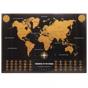 Lepakshi Luxury Edition Black Scrape World Map Deluxe Travel Scratch Poster Scratch Off Worlds Maps Gift for Traveler 82.5*59.4Cm