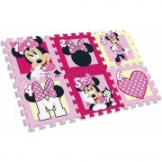 Covor puzzle SunCity, 6 piese, material spuma, model Minnie Mouse