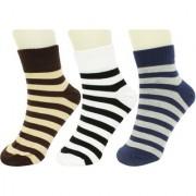 Neska Moda 3 Pair Men Formal Cotton Rich Striped Ankle Length Socks White Brown Blue