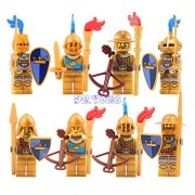 Generic DR.Tong Medieval Castle Knights Blue King Knight Bule Lion Golden Dragon Heavy Shield Building Blocks with Weapon Gift Toys 9802A to H