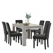 PremiumXL - [en.casa] Elegantan blagovaonski stol(hrast svijetlo smeđi) - 140x90cm + 6 tapeciranih stolica (sive)