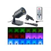Laser-Projektor mit 12 LEDs, 8 Licht-Effekte, Timer, Fernbed., IP65 | Laser Projektor