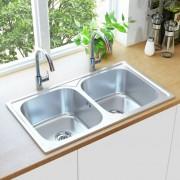 vidaXL Кухненска мивка двойно корито цедка и сифон неръждаема стомана