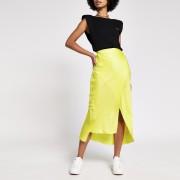 river island Womens Yellow satin midi skirt (8)