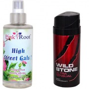 Wild Stone Ultra Sensual Body Deodorant 150ml and Pink Root High Street Gals Fragrance body Spray 200ml Pack of 2