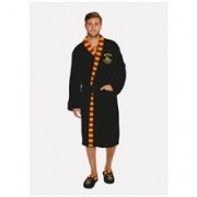 Halat Harry Potter Hogwarts Mens Black Fleece Robe With Scarf Detail No Hood