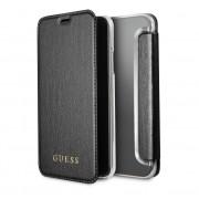 Guess Iridescent Book Case - дизайнерски кожен калъф, тип портфейл за iPhone XS, iPhone X (черен)