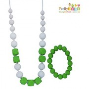 Baby Teething Necklace & Bangle for Mom to Wear. Soft Chewy Silicone Baby Teether Toy Teething Bead Necklace Bracelet