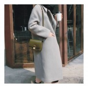Over-knee Length Thickened Woolen Overcoat Long-sleeved Outerwear For Women Gray