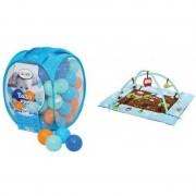 Spatiu de joaca gonflabil Ludi, 107 x 87 cm, PVC, 75 bile incluse, 6 luni+, model bufnite, Albastru