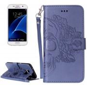Para Samsung Galaxy S7 EDGE / G935 Cráneo Impresión Horizontal Flip Funda De Cuero Con Soporte Y Ranuras Para Tarjetas Y Billetera Y Lanyard (azul Oscuro)
