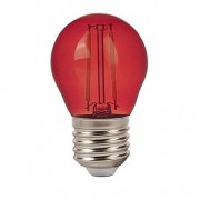LED lámpa , égő , izzószálas hatás , filament , kisgömb , E27 foglalat , G45 , 2 Watt , piros