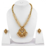 Jewels Guru Gold Plated Gold & White Alloy Necklace Set For Women