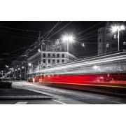 Warszawa Nocne Ulice Mknący Tramwaj - plakat premium